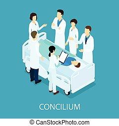 conceito médico, reunião, isometric