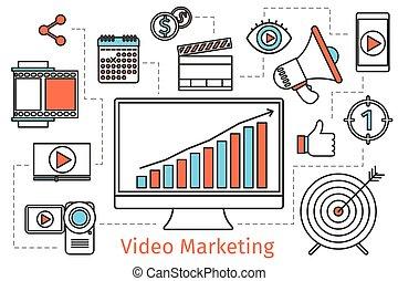 conceito, mídia, abstratos, social, strategy., vetorial, vídeo, fundo, marketing