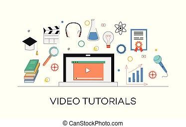 conceito, mídia, marketing, vídeo, internet, tutorials, learning.