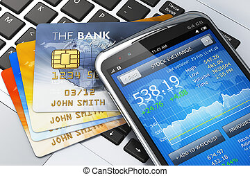 conceito, móvel, finanças, operação bancária