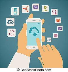 conceito, móvel, vetorial, telefone., serviços, nuvem