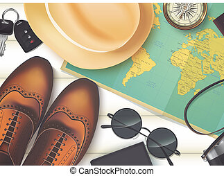 conceito, madeira, sobre, férias, fundo, vista, topo, viagem