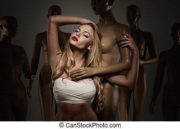 conceito, -, mannequins, mulher jovem, faixa, cirurgia,...
