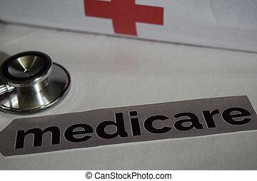 conceito, medicare, saúde, mensagem, estetoscópio, cuidado