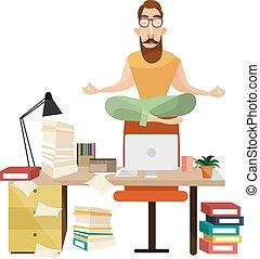 conceito, meditação, vetorial, escritório, ilustração