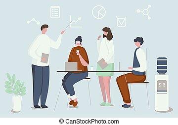 conceito, meeting., compartilhado, center., trabalhando, coworking, negócio, environment.