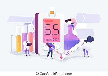 conceito, mellitus, vetorial, ilustração, diabetes