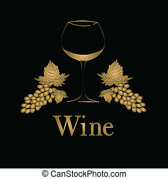 conceito, menu, vidro, vetorial, grapes., design., vinho