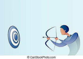 conceito, meta, negócio, adquira, arco, objetivo, arqueiro, ter, homem