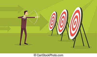conceito, meta, negócio, adquira, seta, objetivo, arqueiro, fundo, homem, alvo