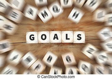 conceito, meta, negócio, sucesso, estratégia, metas armando, aspirações, novo, futuro, dados