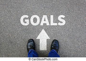 conceito, meta, negócio, sucesso, estratégia, metas armando, novo, aspirações, homem negócios, futuro