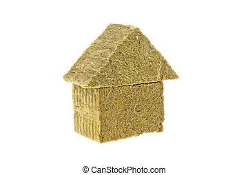 conceito, mineral, casa, energia, eficiência, feito, fundo, branca, lã, sobre