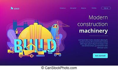 conceito, modernos, aterragem, maquinaria construção, página