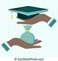 conceito, moedas, dólar, graduado, saco, educação, mãos, boné, investimento