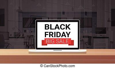conceito, monitor, oferta, grande, laptop, sexta-feira, venda, pretas, cartaz, mensagem, feriado, especiais