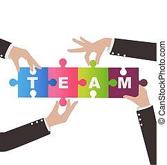 conceito, montagem, ajuda, pessoas negócio, quebra-cabeça, trabalho equipe