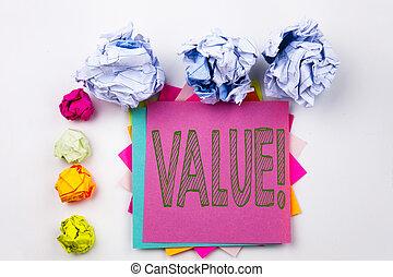 conceito, morais, texto, princípios, papel pegajoso, balls., parafuso, uso, escritório, isolado, escrita, nota, experiência., escrito, branca, negócio, importância, mostrando, ética, valor, benefício