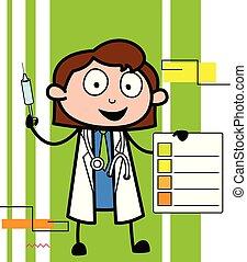 conceito, mostrando, doutor, médico, vetorial, relatório, caricatura
