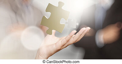 conceito, mostrando, sociedade, mão, homem negócios, sinal