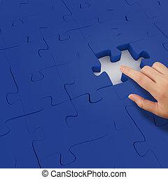 conceito, mostrando, sociedade, sinal, homem negócios, mão, quebra-cabeça, 3d