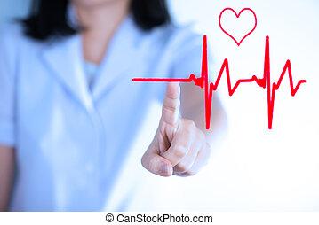 conceito, mostrar, cardiologia, apertando, grama,...