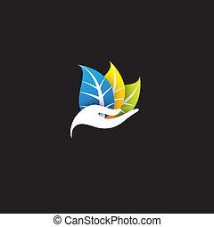 conceito, mulher, coloridos, eco, folhas, -, vetorial, spa, ou, ícone