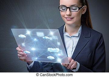 conceito, mulher, nuvem, tabuleta, computando