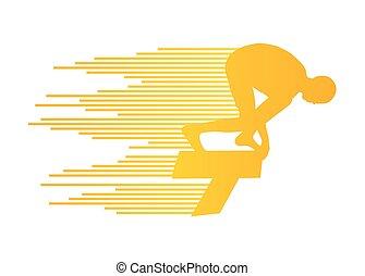 conceito, nadador, salto, vetorial, fundo, posição,...