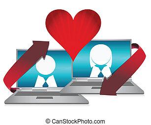 conceito, namorando, ilustração, online