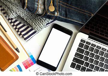 conceito negócio, área, trabalho, ter, laptop, mapa, e, smartphone., seletivo, foco.