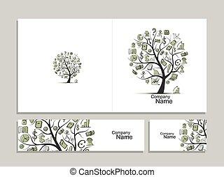 conceito, negócio, árvore, desenho, Cartões, seu