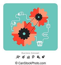 conceito negócio, ícones, com, engrenagem, ilustração