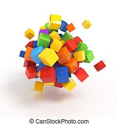 conceito negócio, -, 3d, cubos, render, branco