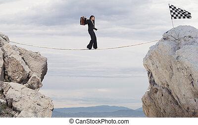conceito, negócio, alcançar, executiva, problemas, corda, bandeira, superar