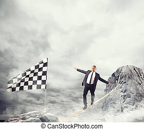 conceito, negócio, alcançar, problemas, corda, bandeira, homem negócios, superar