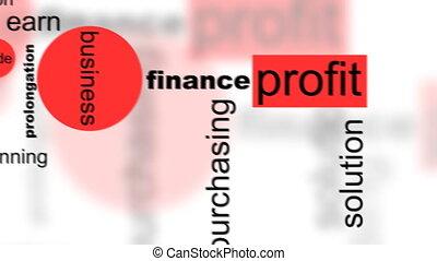 conceito negócio, animação, palavras