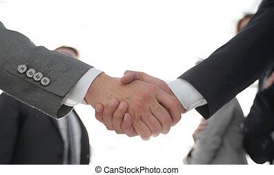 conceito negócio, aperto mão, pessoas negócio