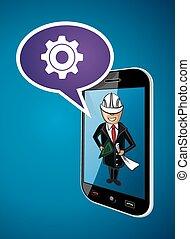 conceito, negócio, app, telefone, arquiteta, engenheiro, homem