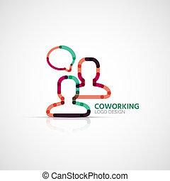 conceito, negócio, companhia, coworking, vetorial, logotipo