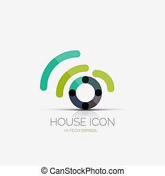 conceito, negócio, companhia, wifi, lar, logotipo