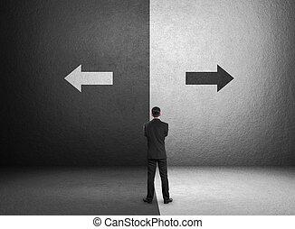 conceito, negócio, desafio, escolhas, importante, homem negócios