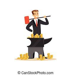 conceito, negócio, dinheiro, fazer, falsificando, bigorna, ilustração, vetorial, paleto, homem