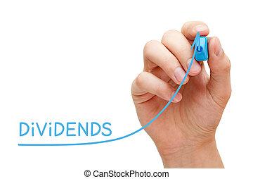 conceito, negócio, dividendos, gráfico, aumento, investimento