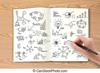 conceito negócio, e, gráfico, desenho, ligado, livro