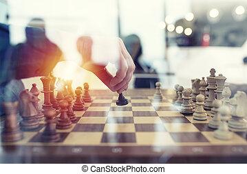 conceito, negócio, escritório., trabalho, sociedade, jogo, junto, trabalho equipe, strategy., homens negócios, xadrez, tática, exposição dobro