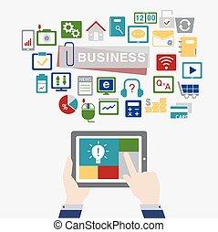 conceito negócio, fundo, wi, ícone