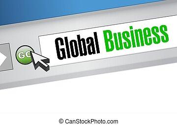 conceito, negócio, global, sinal, online, browser