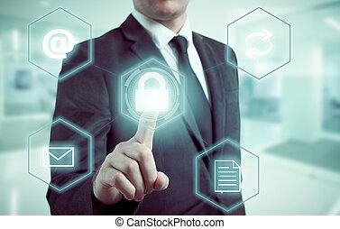 conceito negócio, homem, apertando, selecionar, proteção dados