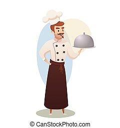 conceito, negócio ilustração, restaurante